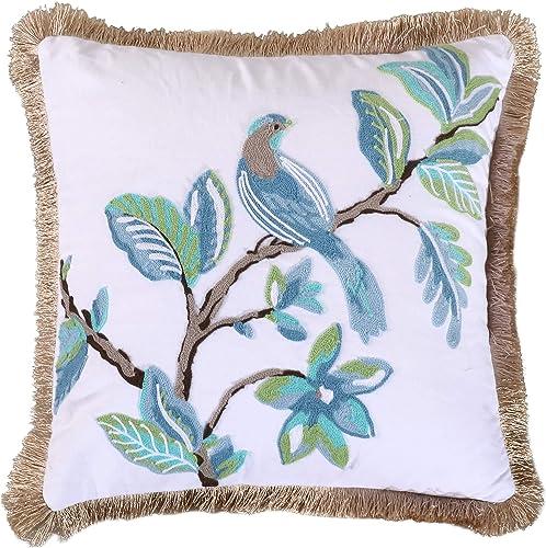 Levtex Home Cressida Crewel Bird Fringe Trim Pillow