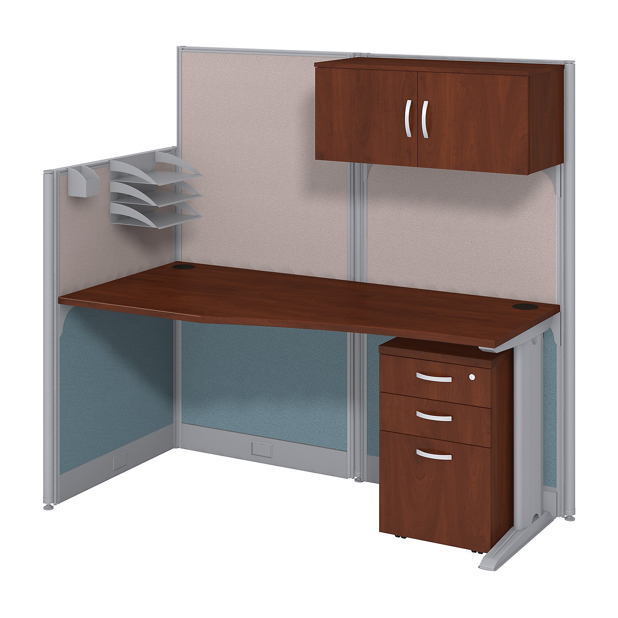 Bush Business Furniture Office in an Hour 65W x 33D Cubicle Workstation with Storage in Hansen Cherry by Bush Business Furniture