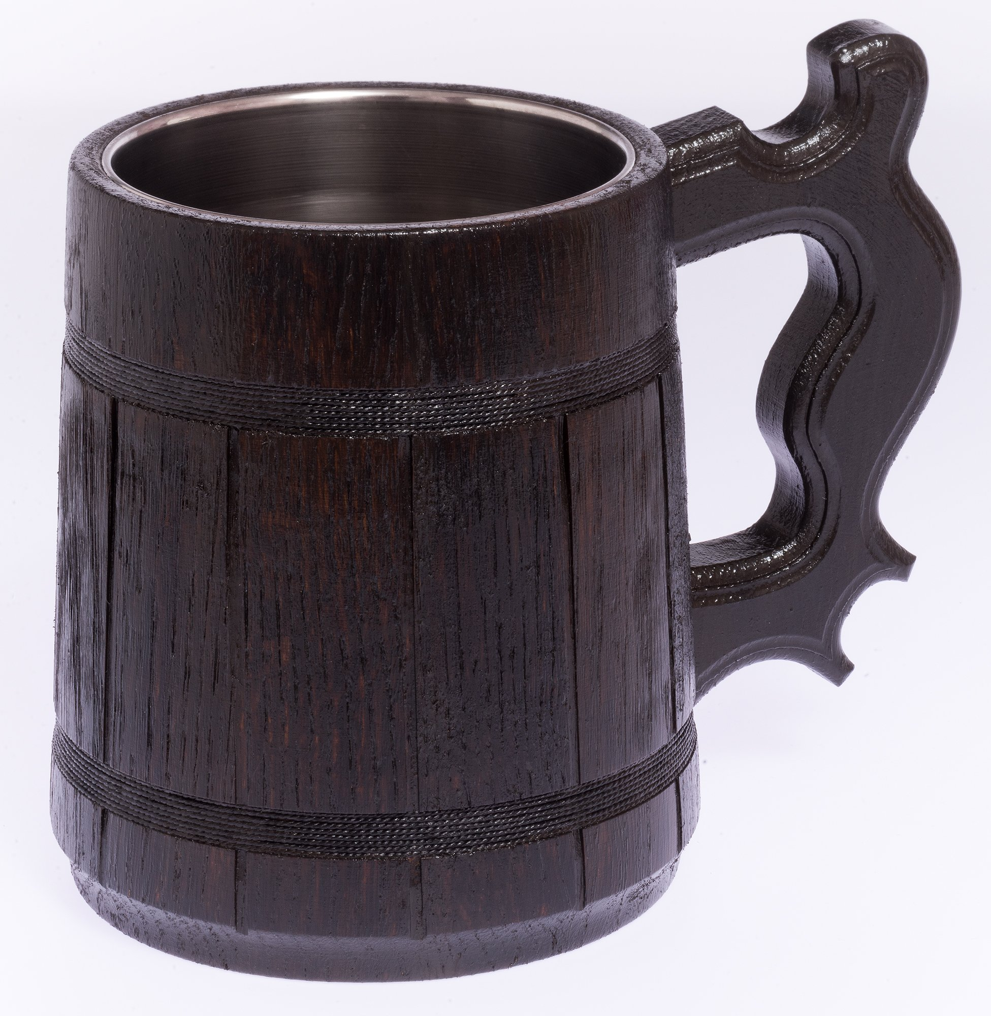 Beer Mug/Wooden Beer Mug/Tankard / Wood Mug By WoodenGifts - 0.6 Litres Or 20oz Wooden Mug - Wooden Coffee Mug with Stainless Steel Cup Inside by WoodenGifts (Image #2)