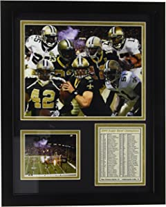 """New Orleans Saints 2009 Champions 11"""" x 14"""" Framed Photo Collage by Legends Never Die, Inc."""