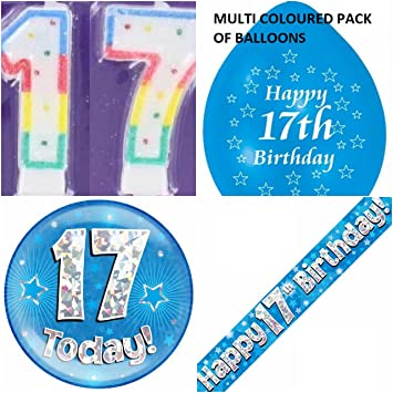 17th Birthday Party Set Boys Age 17 Boy Kit Banner Balloons