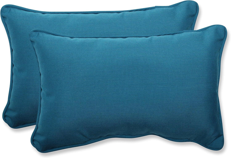"""Pillow Perfect 547442 Outdoor/Indoor Spectrum Peacock Lumbar Pillows, 11.5"""" x 18.5"""", Blue, 2 Pack"""