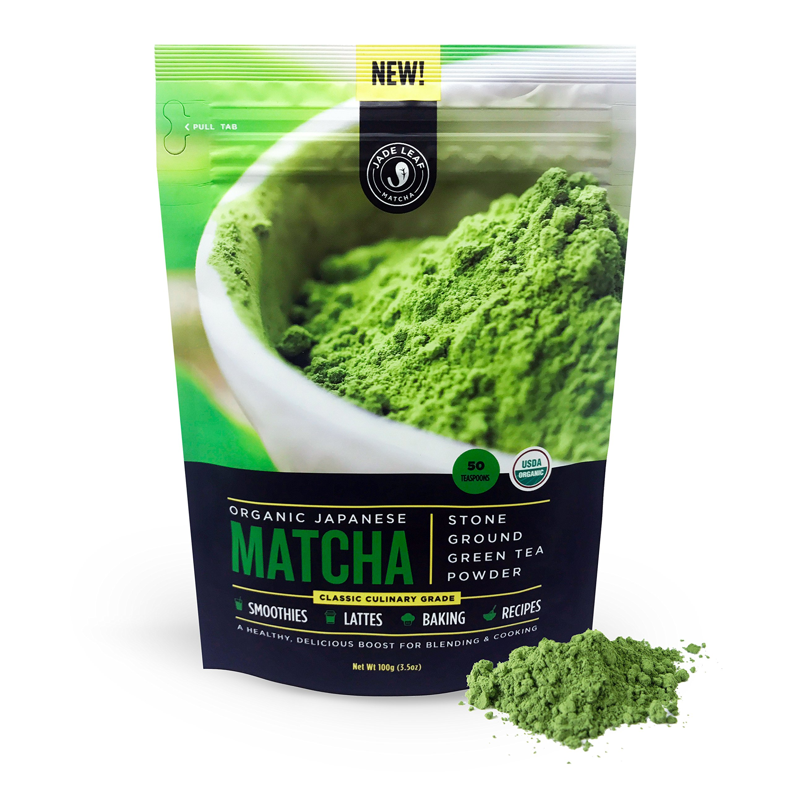 Jade Leaf - Organic Japanese Matcha Green Tea Powder - USDA Certified, Authentic Japanese Origin - Classic Culinary Grade (Smoothies, Lattes, Baking, Recipes) - Antioxidants, Energy [100g Value Size] by Jade Leaf Matcha