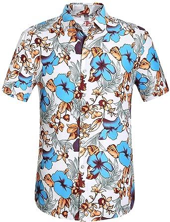 4b8d9d75 Leisurely Pace Men's Hawaiian Aloha Shirt Short Sleeve Tropical Floral  Print Button Down Shirt (08BL