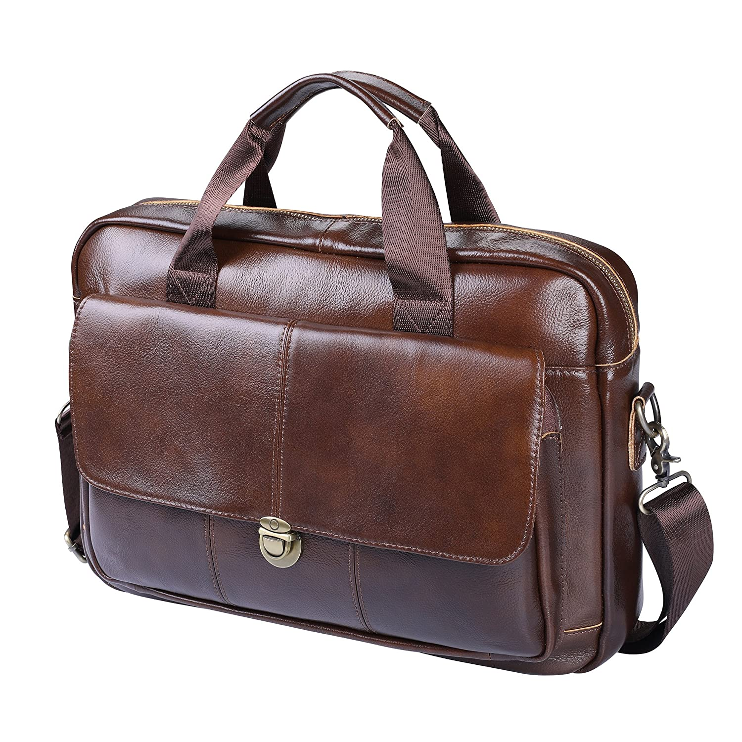 Men's Briefcase TECOOL Genuine Leather Laptop Business Shoulder Bag office bag Messenger Bag Satchel Bag,Brown