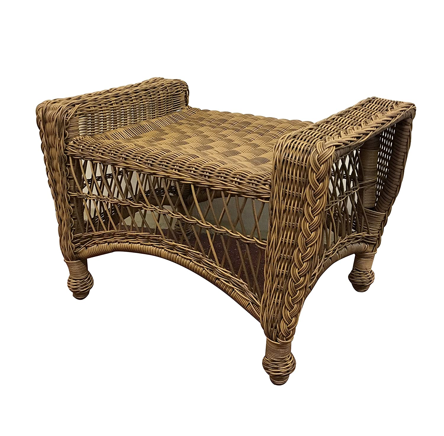 Natural//Navy Wicker Paradise CC5-N-Navy Madison Outdoor Ottoman