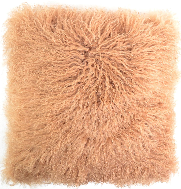 Kissenbezug mit Innenkissen, aus langem, gelocktem, mongolischem Schafsfell, 40 x 40 cm, von Snugrugs, Schafwolle, taupe, 40 cm x 40 cm