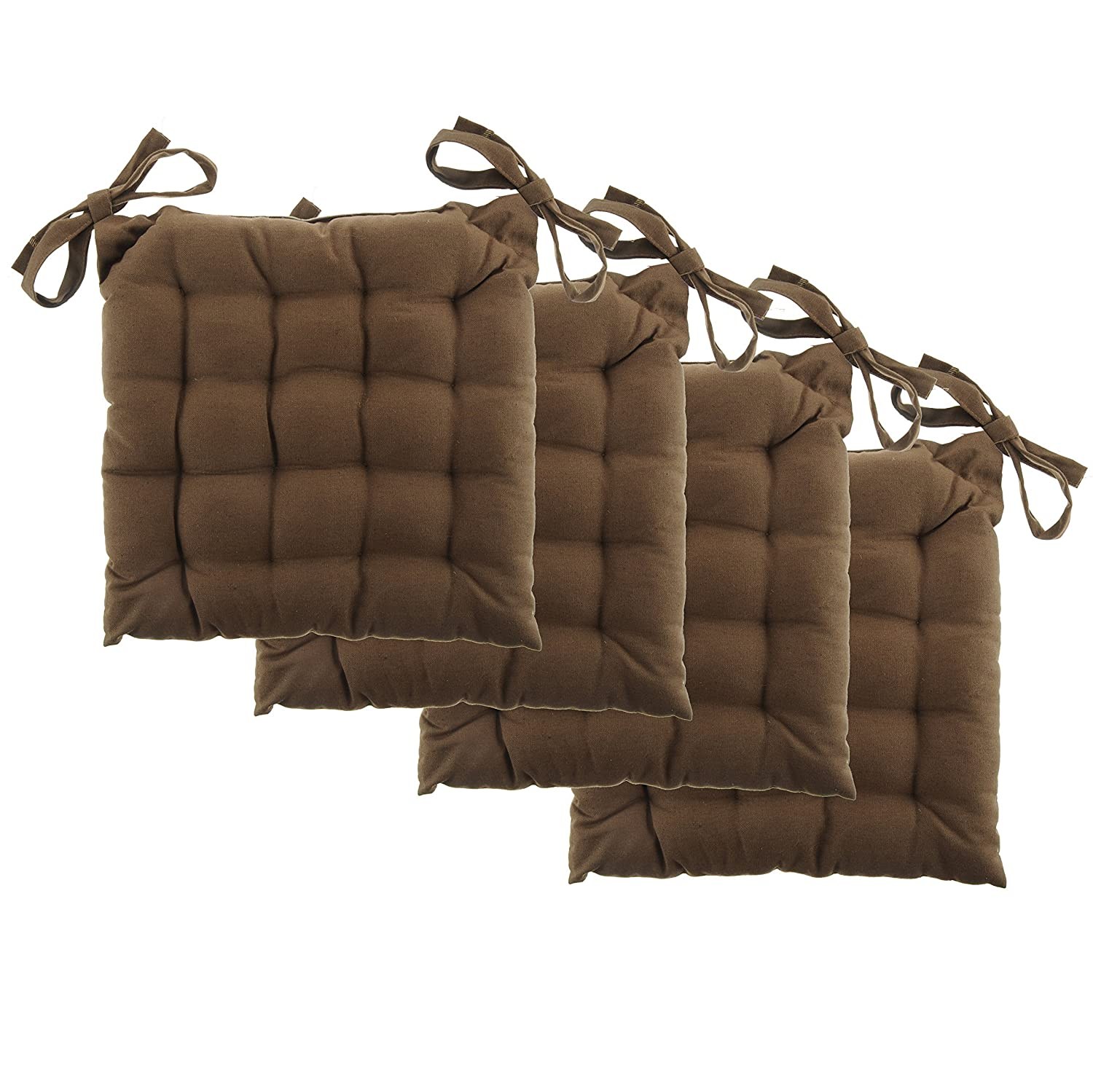 """White Dove Chair Pads - Cotton Canvas - Value 4 Pack - Fits 15"""" Chair - Solid Color - Classic Design, by Unity (French Toast)"""