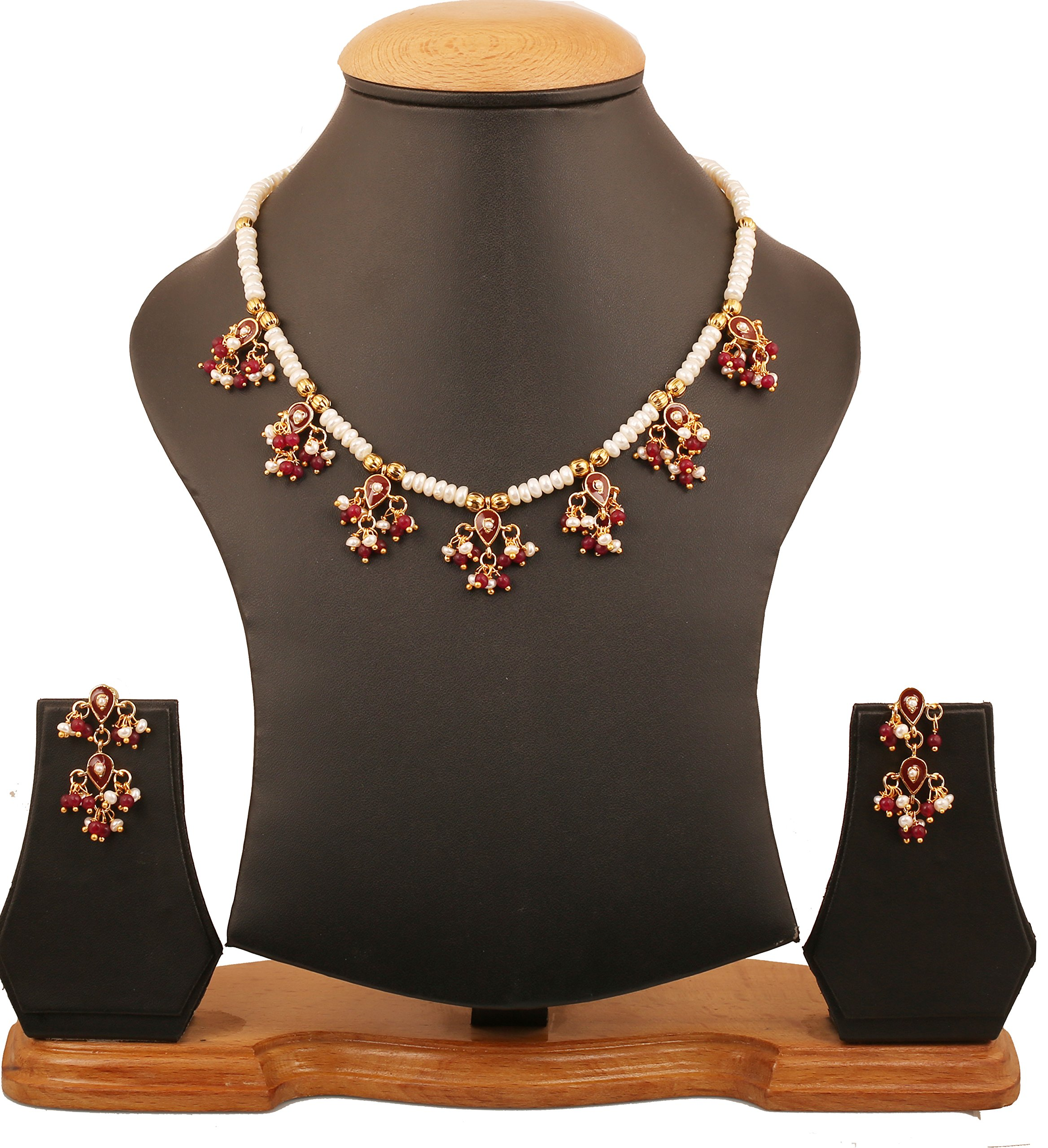 Touchstone''Royal Meena Collection'' Indian Bollywood statement traditional enamel Meenakari jadau finely strung faux pearls beads jewelry necklace set for women in gold tone.