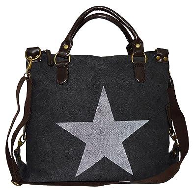thb Richter Tasche Canvas PU Leder Stern Star Bag Shopper