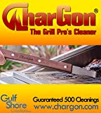 "CharGon ""The Grill Pro's Cleaner"" PATENTED & PERFORMANCE TESTED TO LAST 500 CLEANINGS CharGon works on ALL round grill rods cleaning the TOPS, SIDES, & BOTTOM."