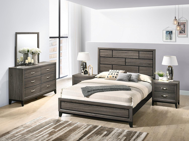 Amazon Com Roundhill Furniture Stout Panel Queen Size Bedroom Set