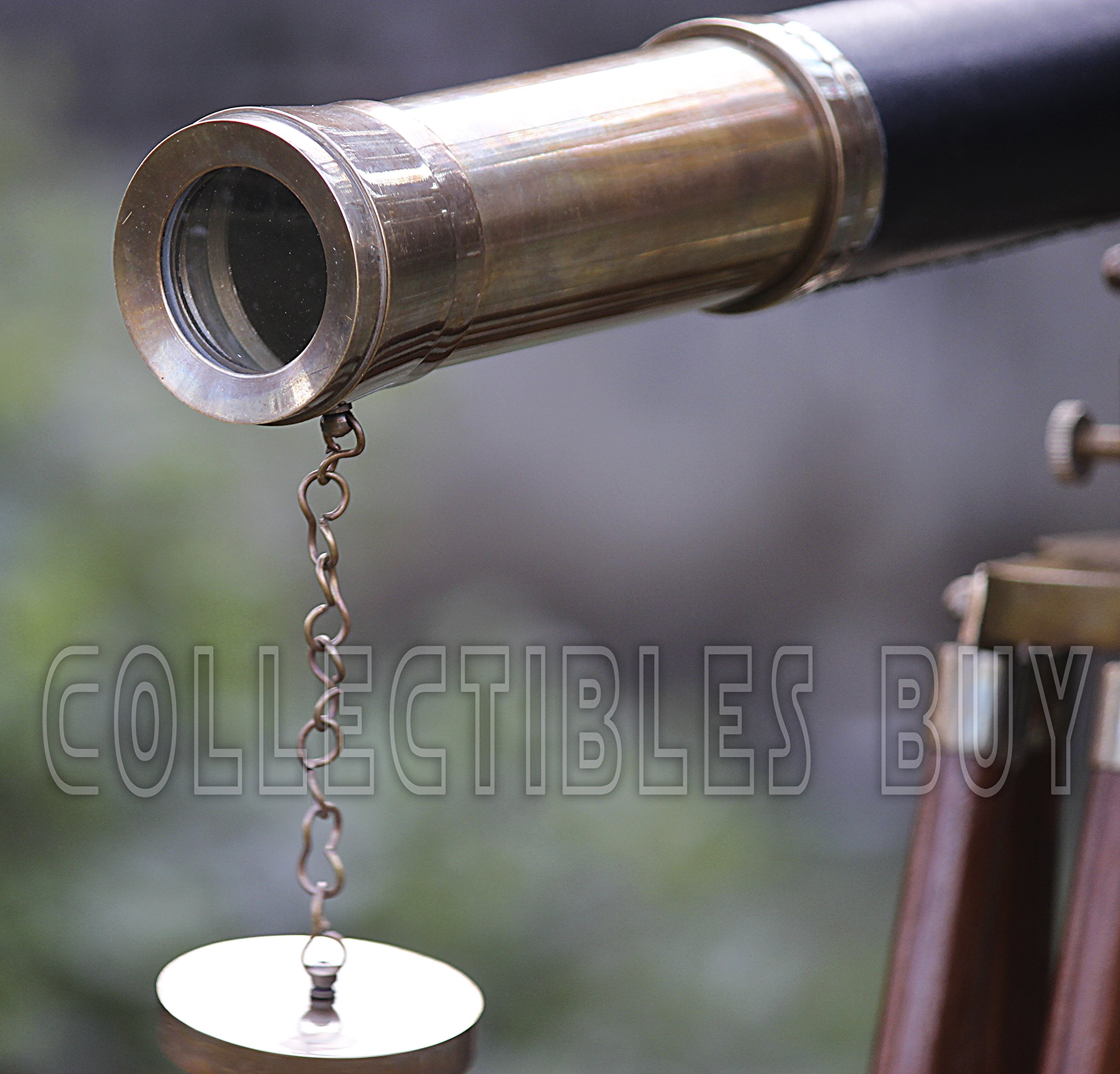 Sailor Boat Antique Telescope Black Leather Wooden Stand Marine Royal Telescopes by Collectibles Buy (Image #4)