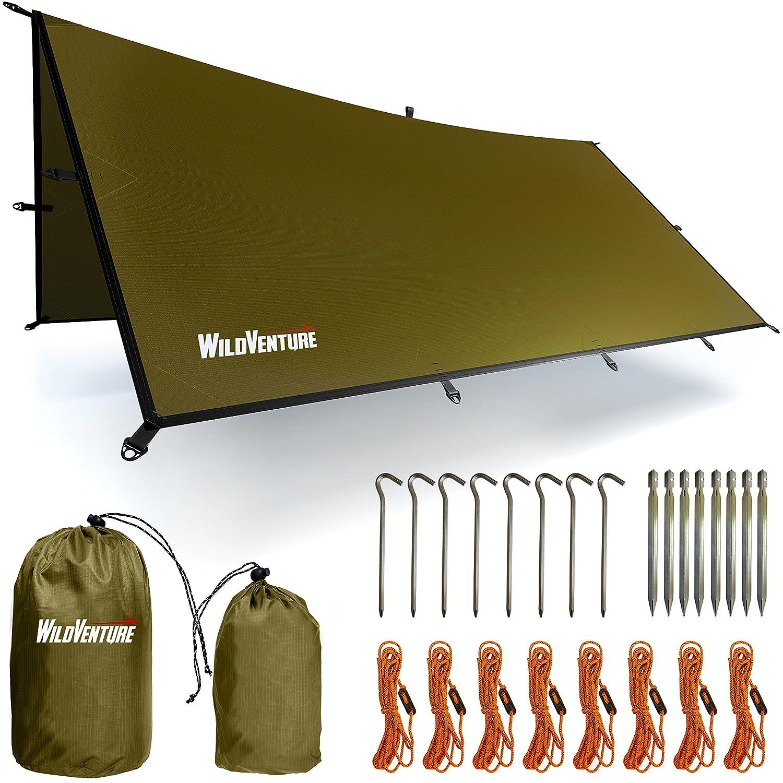 wildventureテントタープRain Fly – 防水軽量のサバイバルギアShelterキャンプ、バックパッキング、およびアウトドア生活 – 9.8 X 9.3 'タープテント グリーン wv2017 B07DCDF79T  グリーン