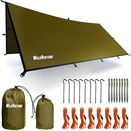 889ca8cc3bc Amazon.com   WildVenture Tent Tarp Rain Fly - Waterproof Lightweight  Survival Gear Shelter for Camping
