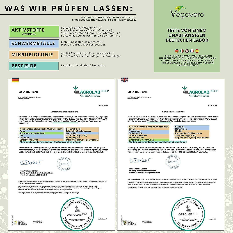 Vitamina C de Acerola Orgánica Vegavero® | Producto BIO | TESTADO EN LABORATORIO | Sistema Inmunológico + Resfriados + Piel + Antioxidante | 180 Cápsulas: ...