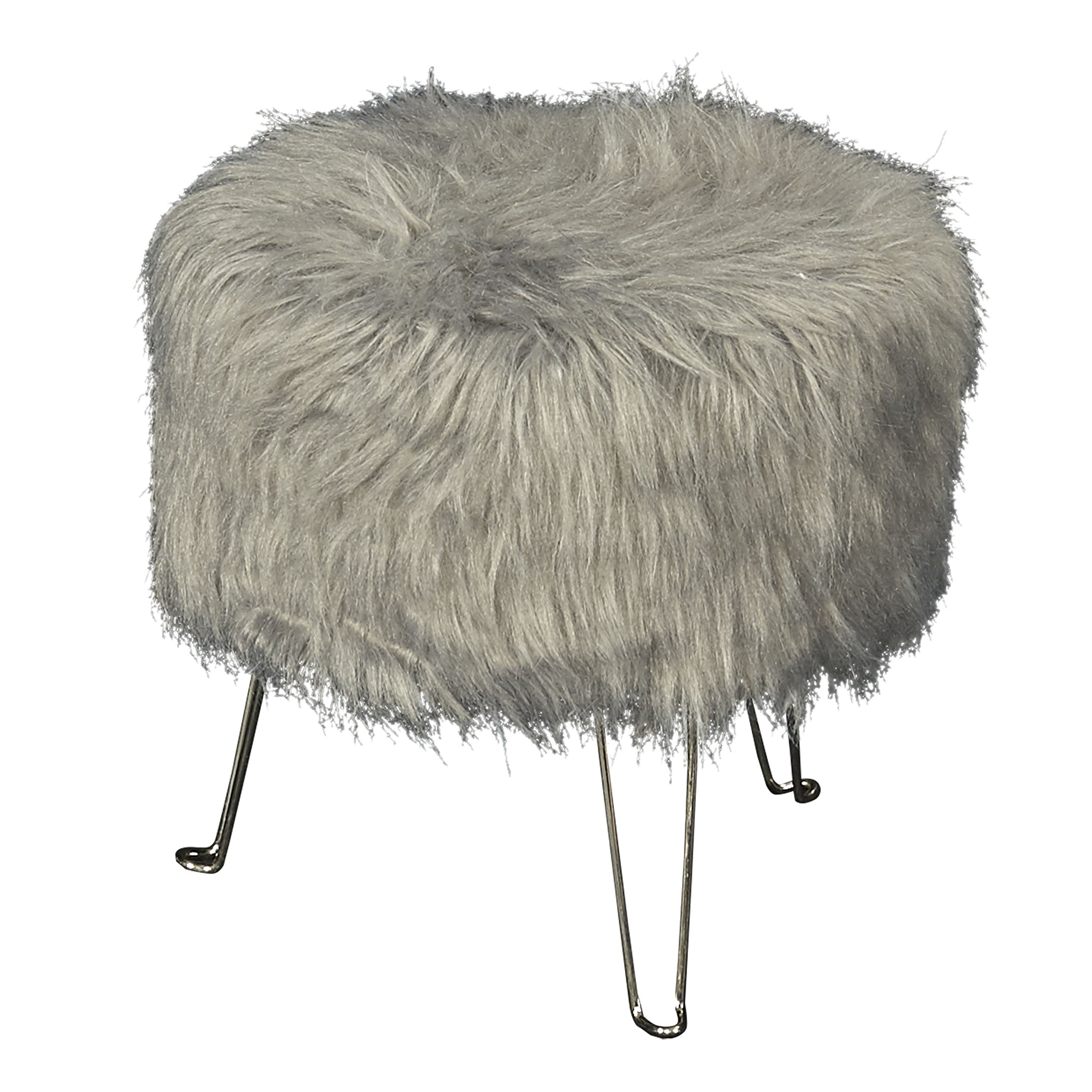 Linon Gracie Gray Faux Fur Hair Pin Stool