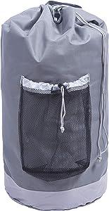 Amelitory Large Backpack Laundry Bag with Strong Shoulder Strap Storage Bag Drawstring Closure Gray