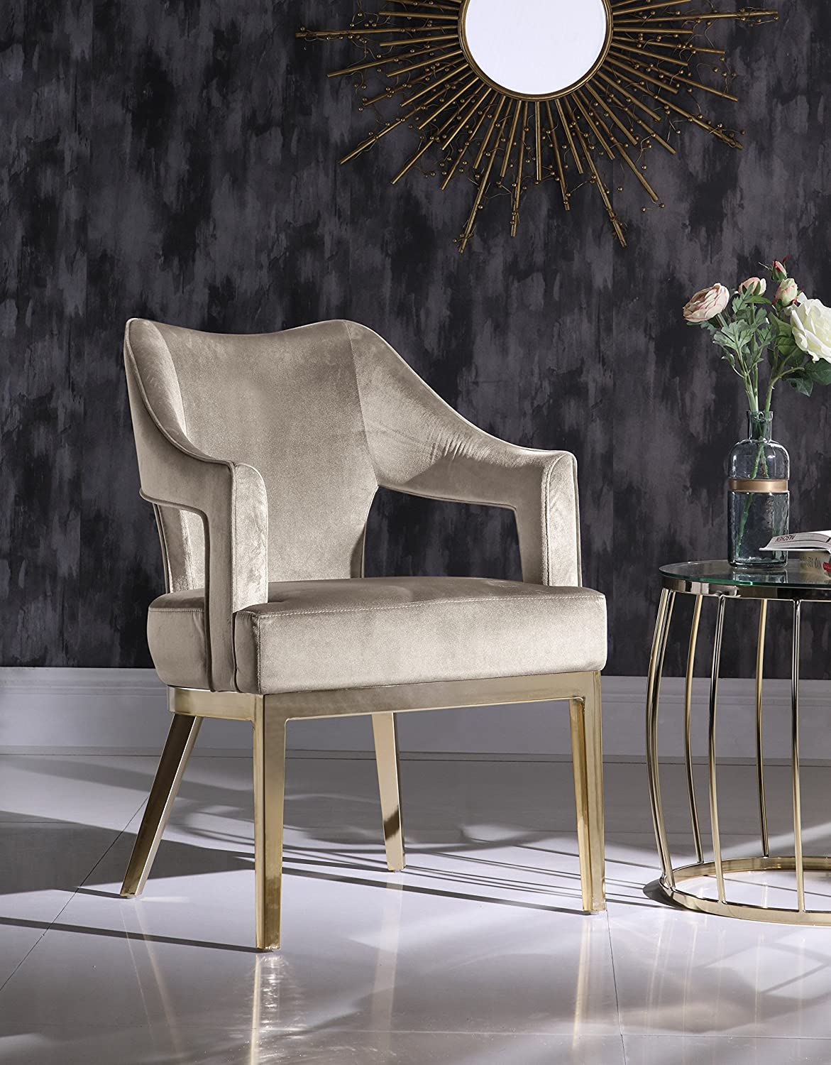 Iconic Home Gourdon Accent Chair Plush Velvet Upholstered Swoop Arm Gold Tone Solid Metal Legs Modern Contemporary, Taupe