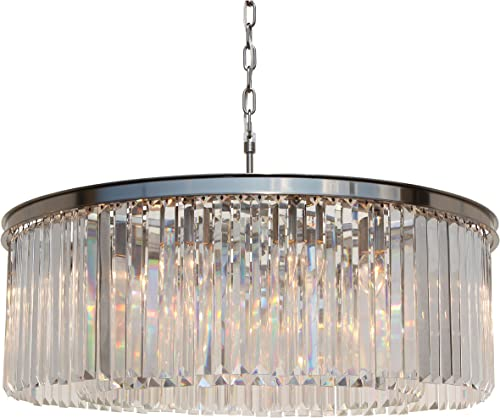 D Angelo 12 Light Round Clear Glass Crystal Prism Chandelier, Brushed Nickel