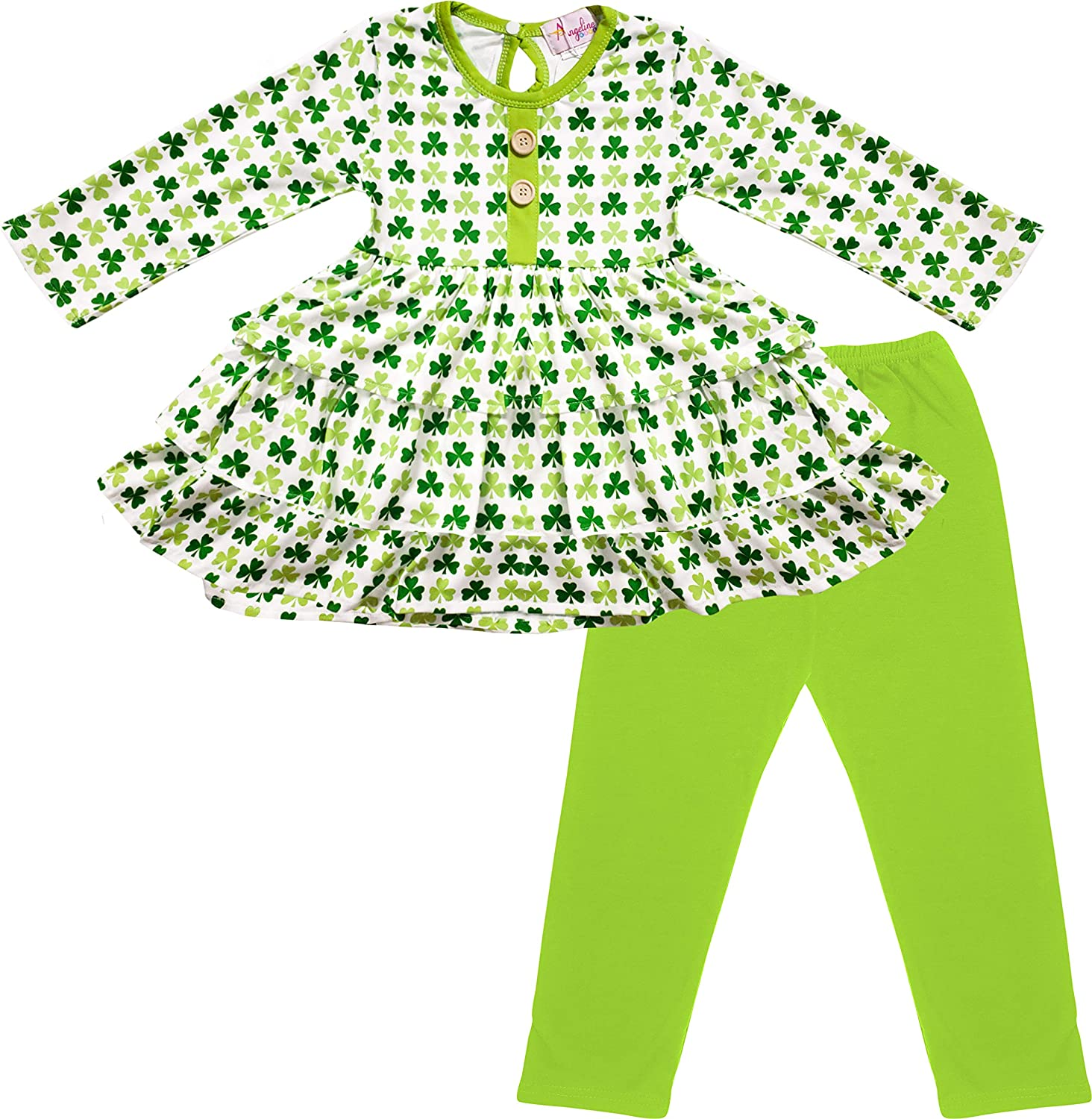 Celebrate Infant /& Toddler Girls Gold /& Pink Shamrock Green Leggings St Patricks Day