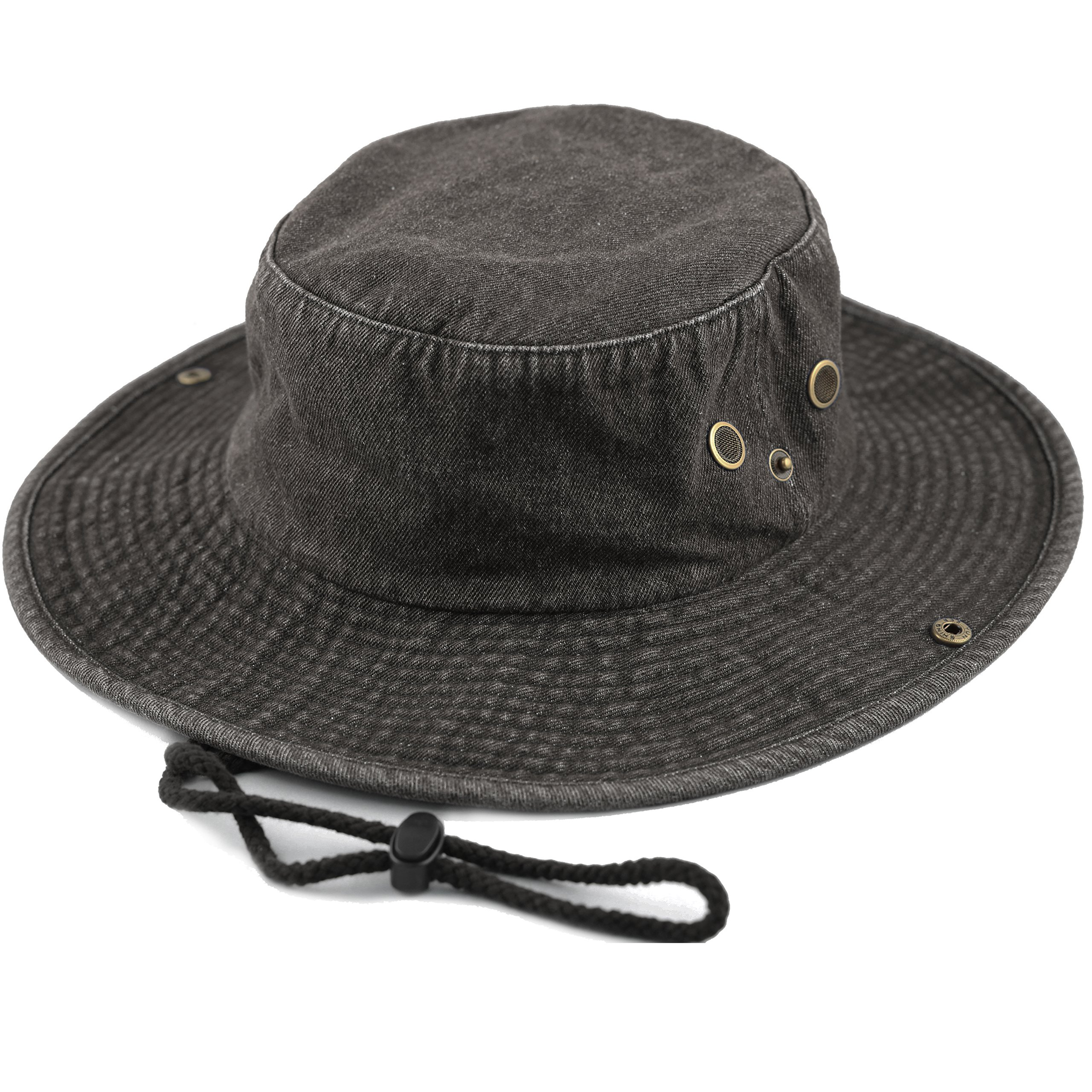 THE HAT DEPOT 300N1510 Wide Brim Foldable Double-Sided Outdoor Boonie Bucket Hat (S/M, Black Denim)