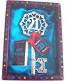 Boxed 21st Male Birthday Key Gift Twenty One Lads Key (blue)