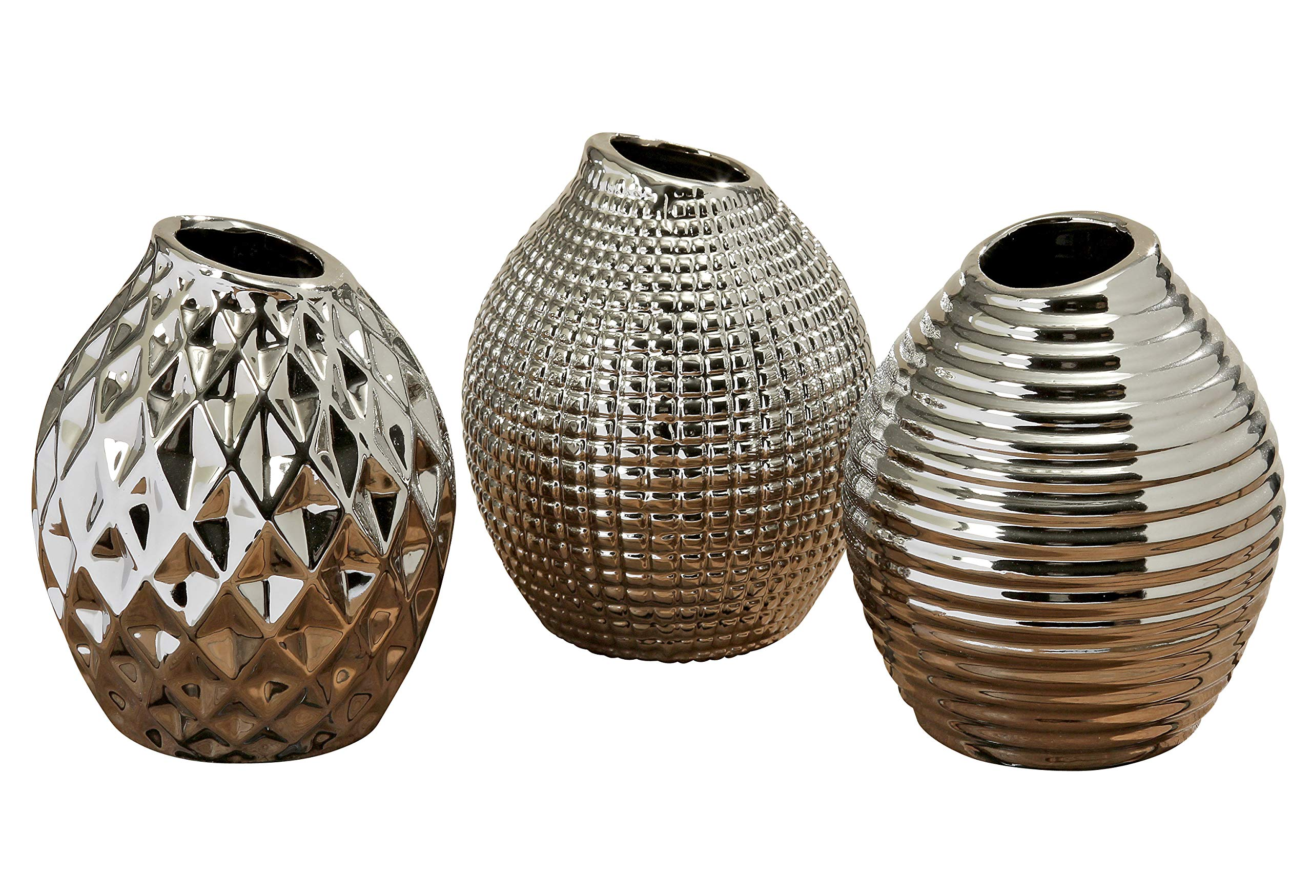 Whole House Worlds Iconic Scandinavian Style Vases, Set of 3, 1 Faceted, 1 Ringed and 1 Diamond Pattern, Silver Glazed Stoneware, Gourd Shaped, 5 1/8 Inches High, by WHW