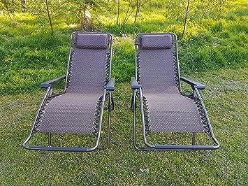 Premium Qualität 2 Stück Braun Zero Gravity Relaxliege Relaxsessel