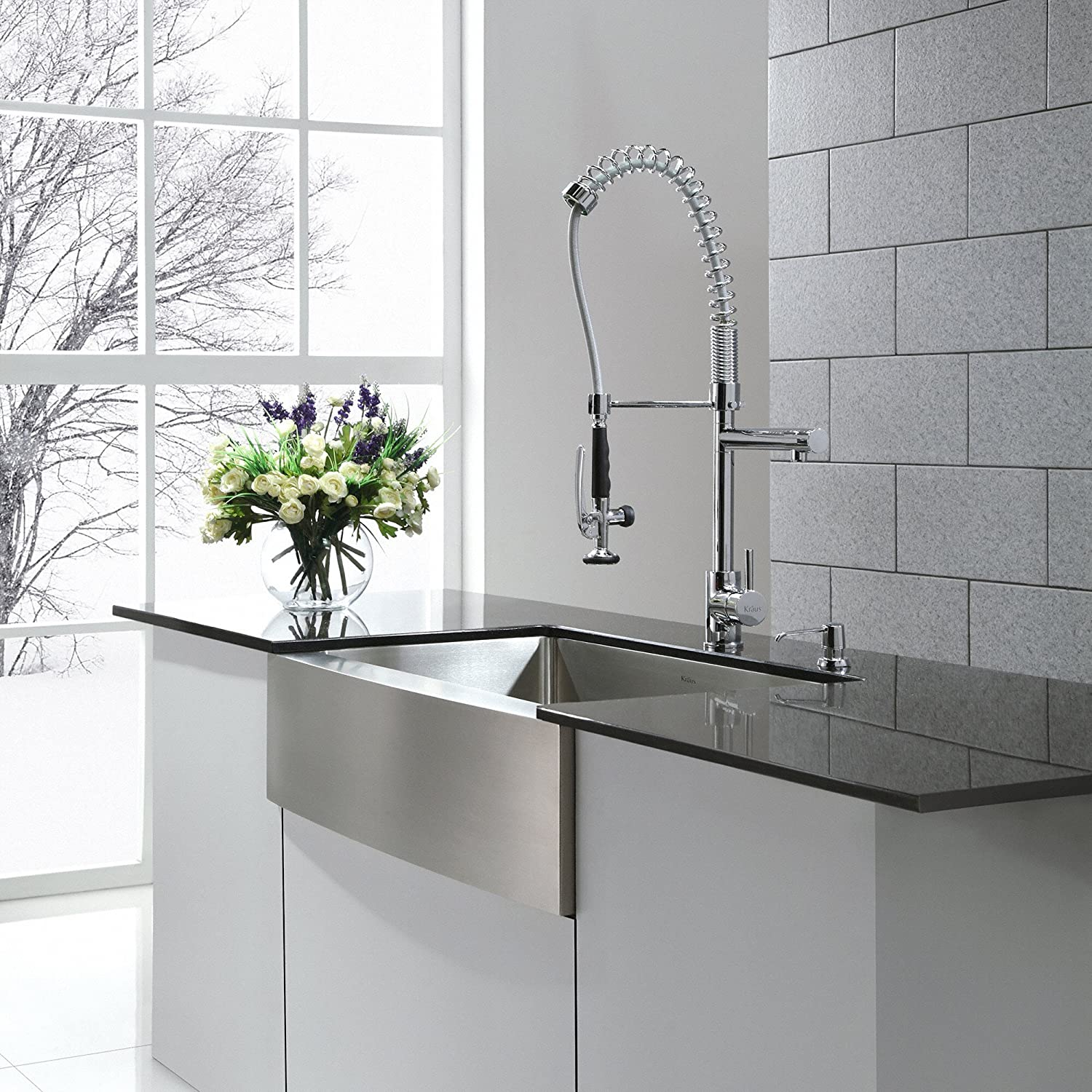 Kraus KPF-1602 Single Handle Pull Down Kitchen Faucet Commercial ...