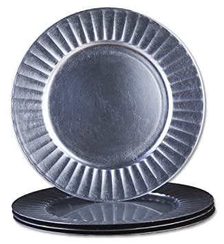 Sunburst Design 13-Inch Round Plastic Charger Plates by bogo Brands (Silver Set of  sc 1 st  Amazon.com & Amazon.com | Sunburst Design 13-Inch Round Plastic Charger Plates by ...