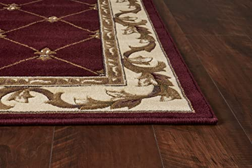 KAS Oriental Rugs Corinthian Collection Fleur-De-Lis Runner, 2 2 x 7 11 , Red