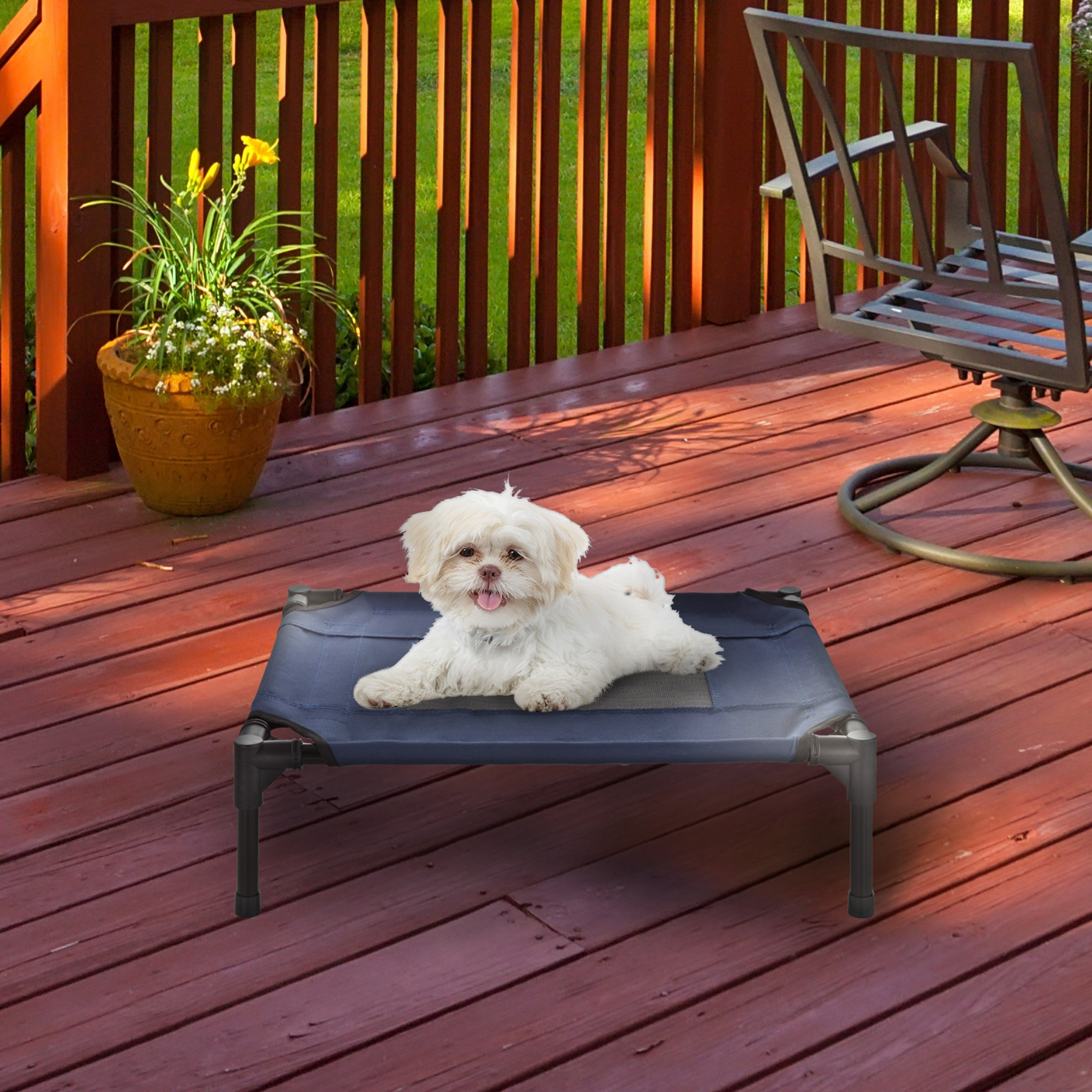 """PETMAKER Elevated Pet Bed-Portable Raised Cot-Style Bed W/Non-Slip Feet, 24.5""""x 18.5""""x 7"""" for Dogs, Cats, and Small Pets-Indoor/Outdoor Use (Blue)"""