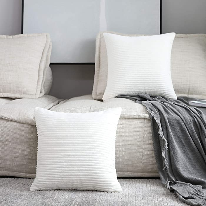 Home Brilliant Set of 2 Decorative Pillow Cover Solid Striped Corduroy Plush Velvet Cushion Cover for Couch, Creamy White, 20x20 inch (50cm)