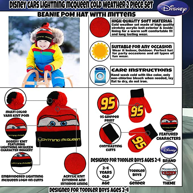 2d8d41bbab2 Amazon.com  Disney Boys  Toddler Cars Lightning McQueen Beanie Hat and Mittens  Winter Set