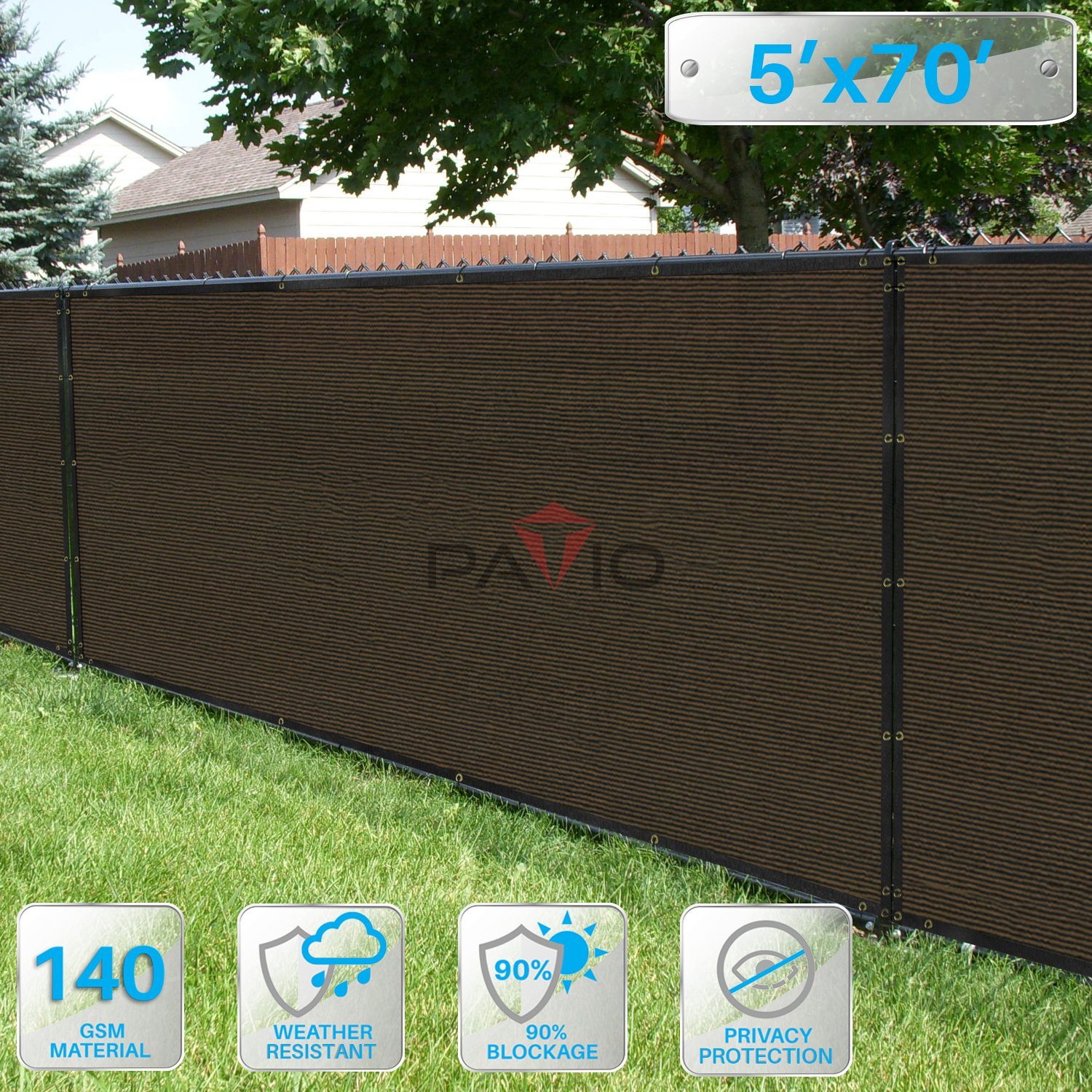 Patio Paradise 5' x 70' Brown Fence Privacy Screen, Commercial Outdoor Backyard Shade Windscreen Mesh Fabric with brass Gromment 85% Blockage- 3 Years Warranty (Customized Sizes Available)