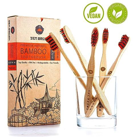 Juego de 5 cepillos de dientes de bambú con cerdas libres de BPA para limpieza