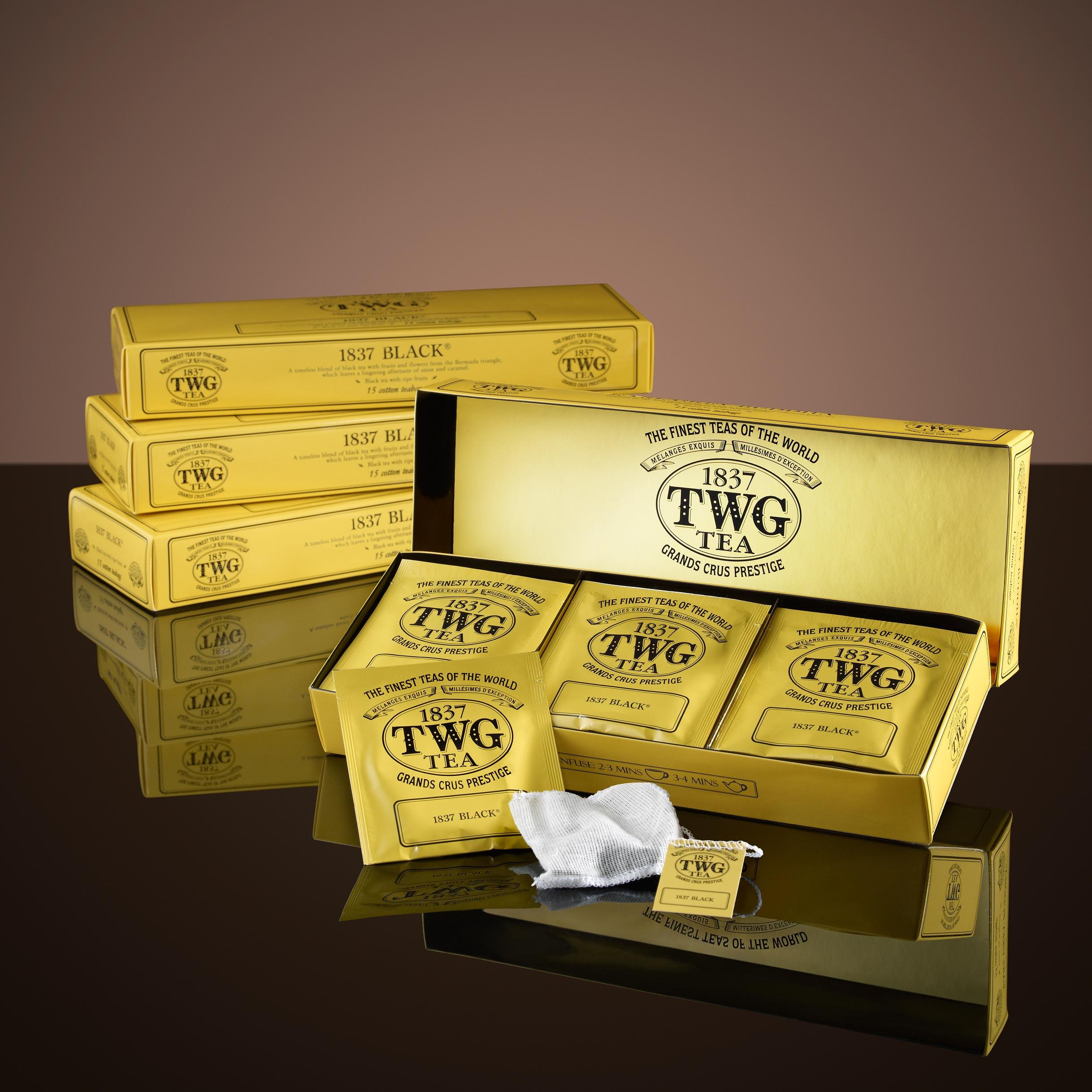 TWG Singapore - Luxury Teas - 1837 BLACK TEA - 15 Hand sewn pure cotton tea bags