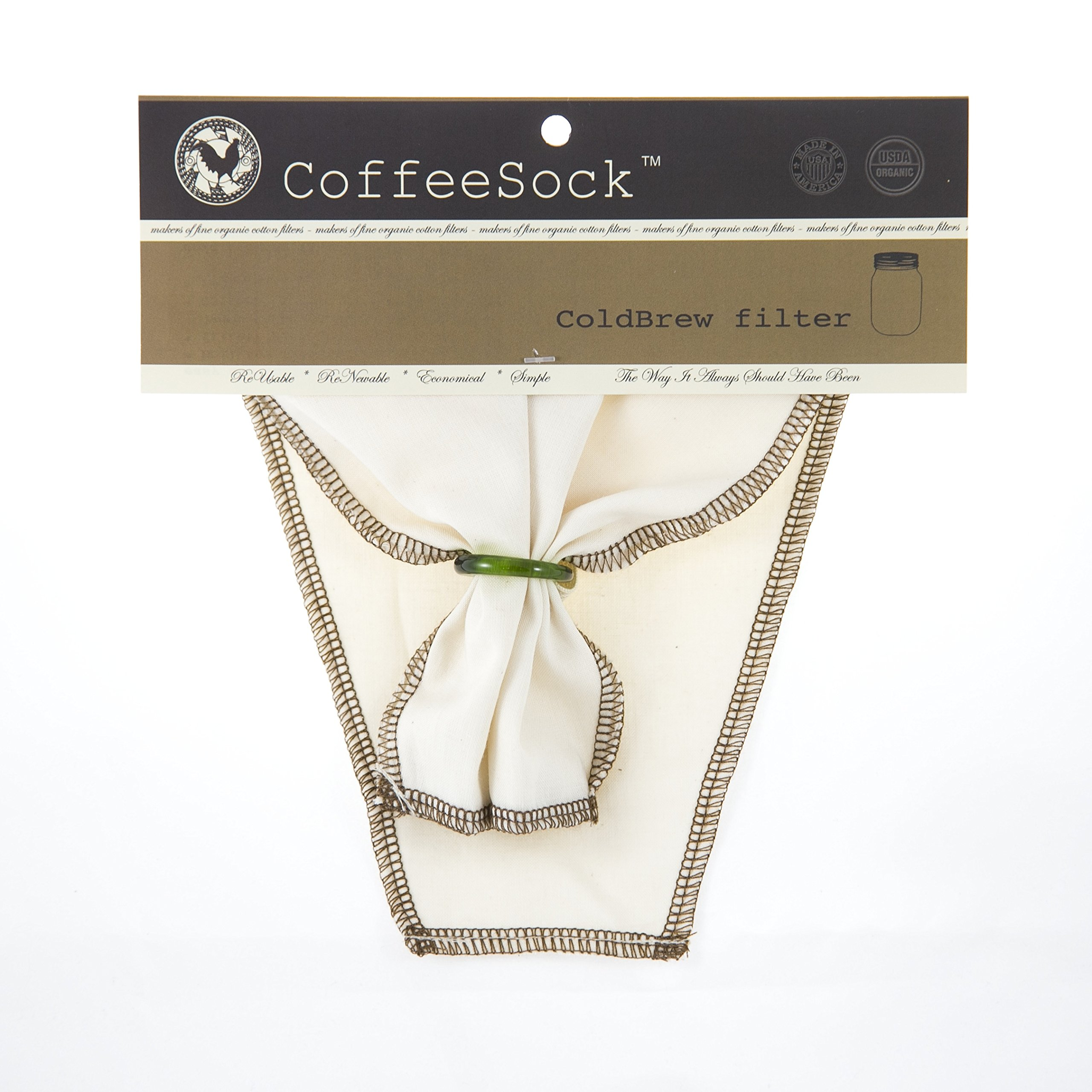 CoffeeSock ColdBrew Filter - GOTS Certified Organic Cotton Reusable Coffee Filter (TWO GALLON)