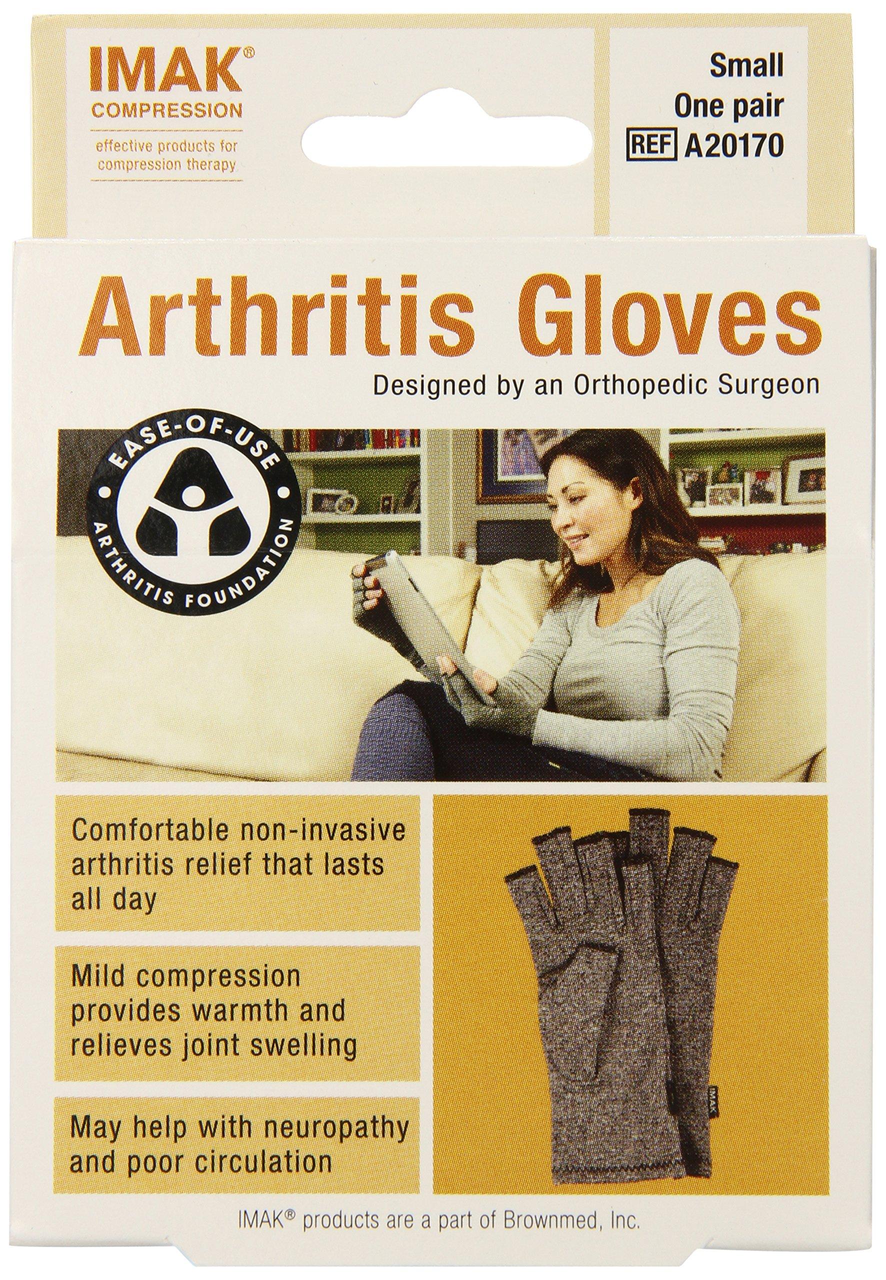 IMAK Compression Arthritis Gloves, Original with Arthritis Foundation Ease of Use Seal, Small