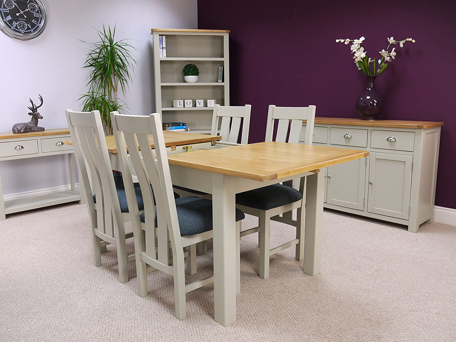 aspen painted oak sage grey extending dining table and 4 chairs dining table set amazoncouk kitchen home - Oak Dining Table Set