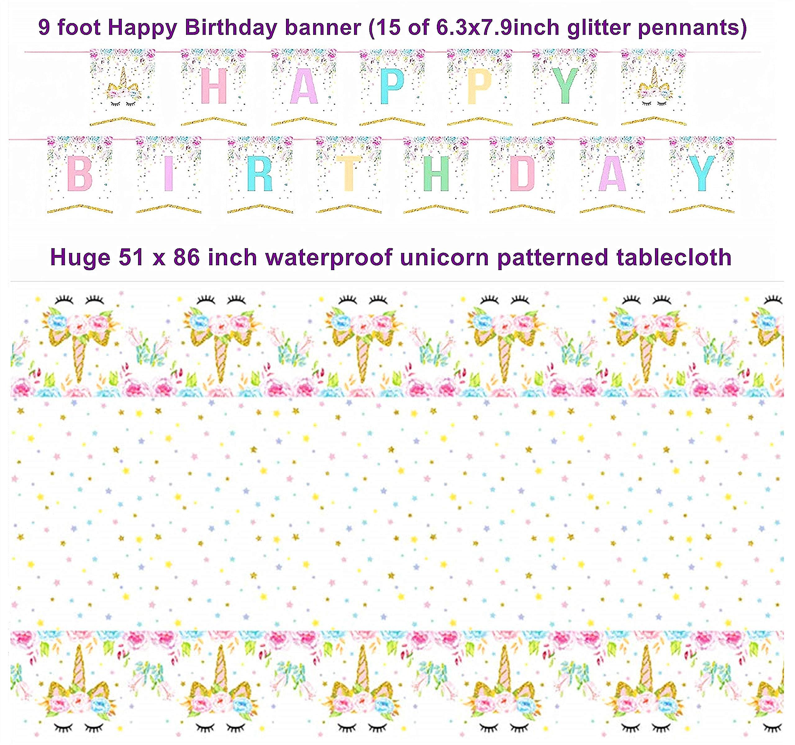 Unicorn Party Supplies Set with BONUS Glittery Unicorn Headband and 30 Balloons | 145 Piece Disposable Unicorn Themed… 5