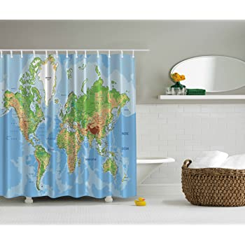 Ambesonne World Map Print Educational Geographical Earth in My Bathroom Direction Ability Ocean Journeys Voyager Novelty Home Decor Fabric Shower Curtain, ...