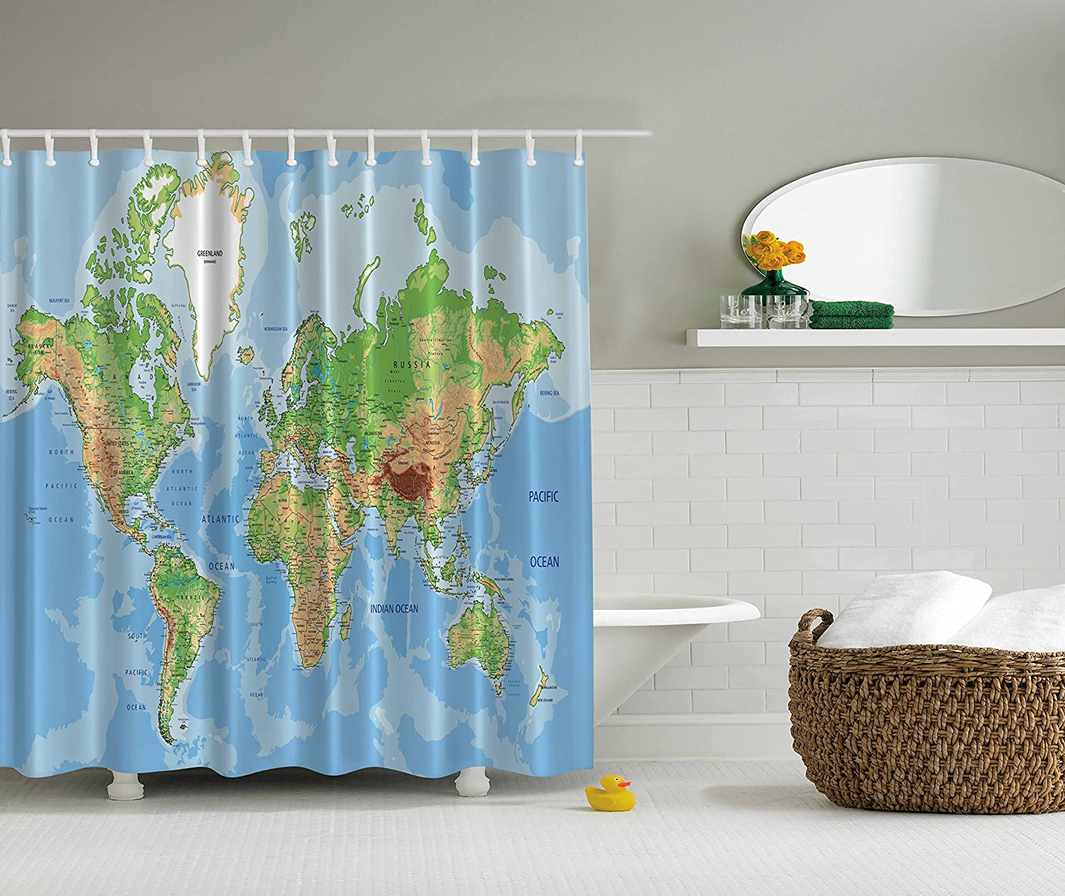 Ocean shower curtain - Amazon Com World Map Print Educational Geographical Earth In My Bathroom Direction Ability Ocean Journeys Voyager Novelty Home Decor Fabric Shower Curtain