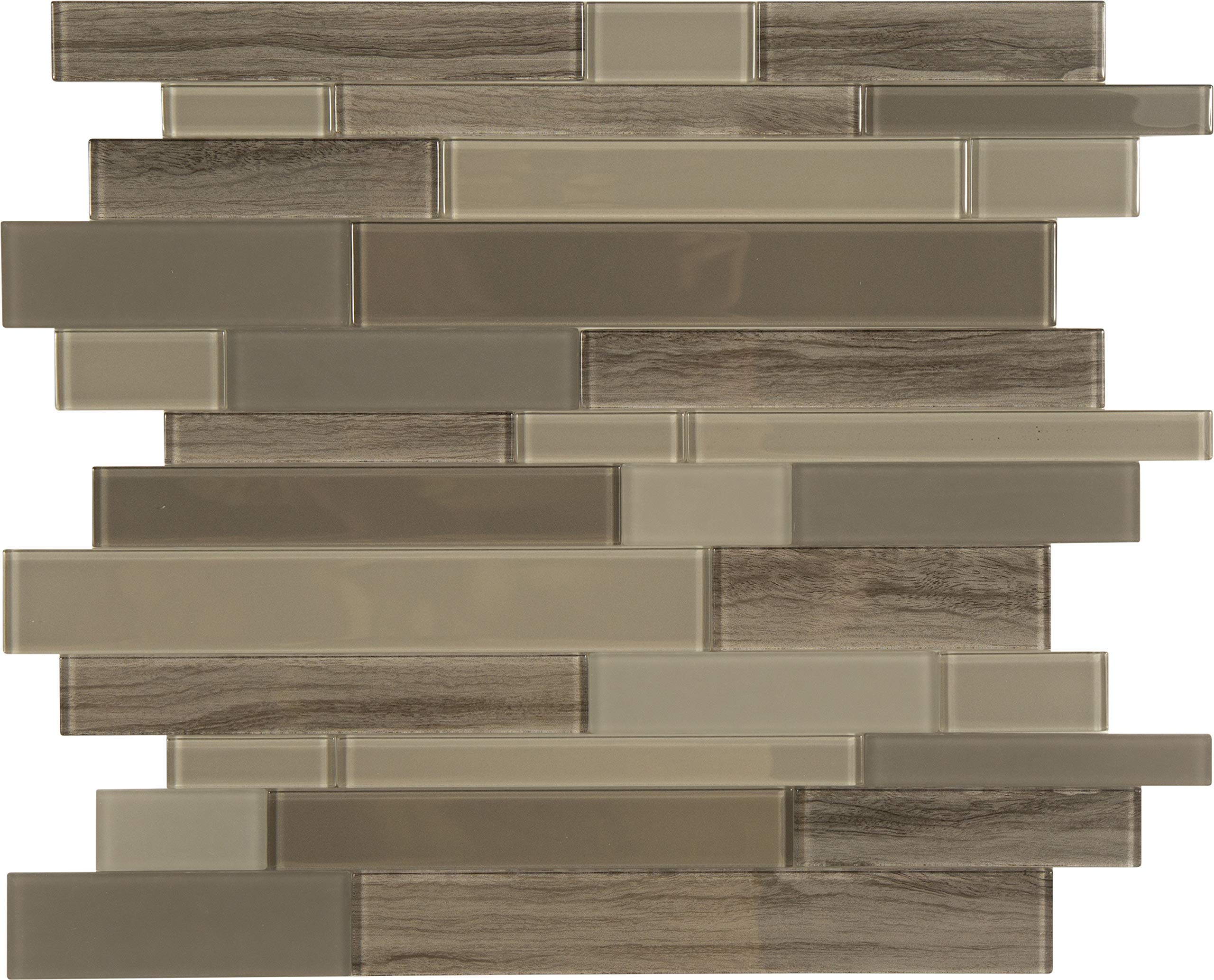 Peel and Stick Glass Backsplash Tiles (Brown Glass Marble Mosaic) - Box of 10 Tiles: 11.4'' X 11.6'' Each