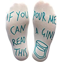 'If You Can Read This Pour Me A Gin' Funny Socks - Perfect Joke Novelty Gift For Men Women and Gin Lovers