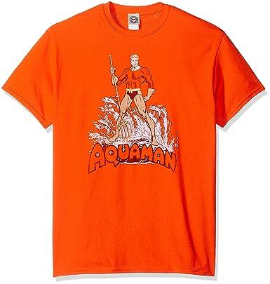 e543a93c DC Comic Men's Aquaman Distressed T-Shirt, Orange, Small: Amazon.in ...