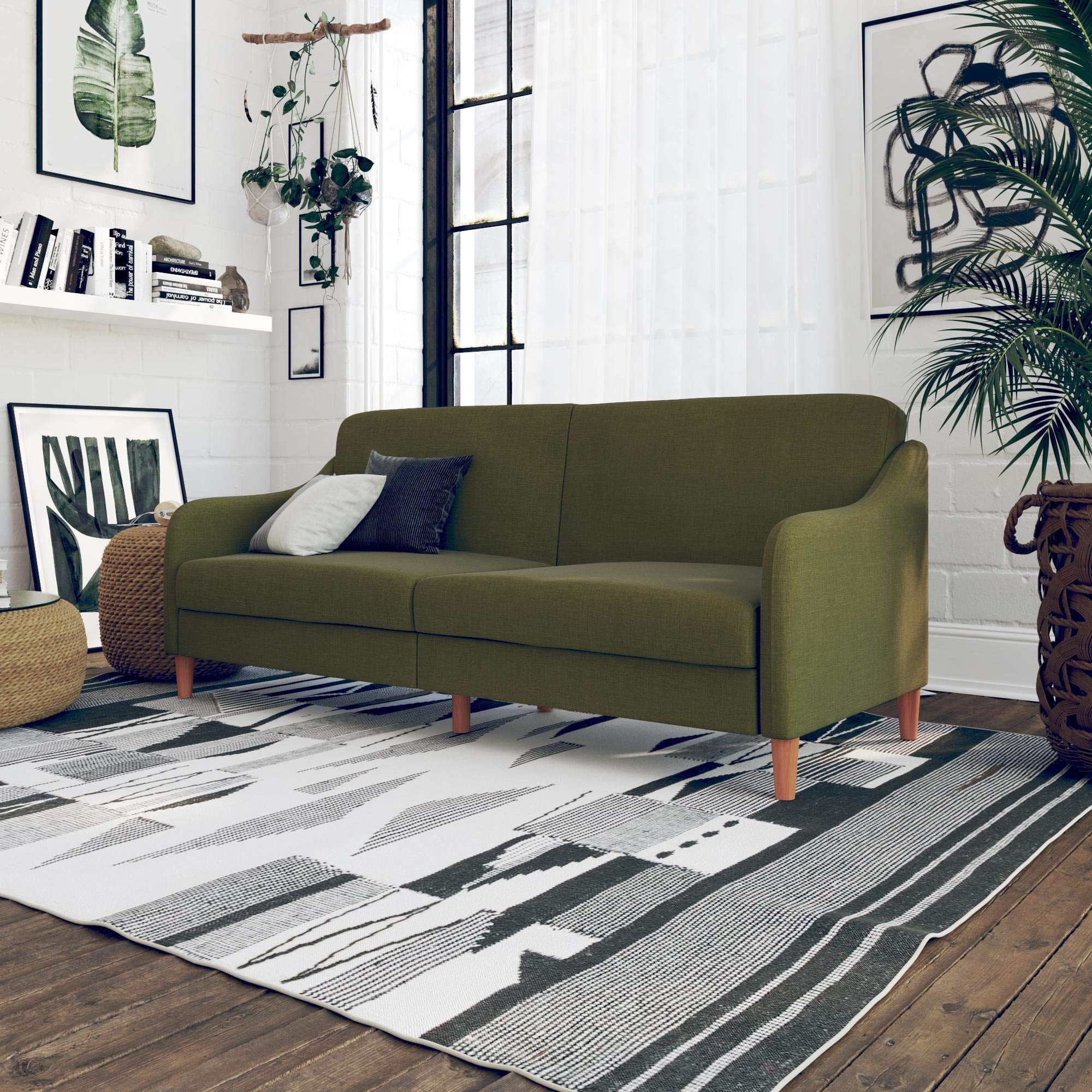 Upholstered Modern Design Futon Couch, Elegant wing shaped arms, Rounded wood legs, Independently encased coils and foam seating, Assembles quickly, Sturdy and durable long use, Green Color by Diversified Closet