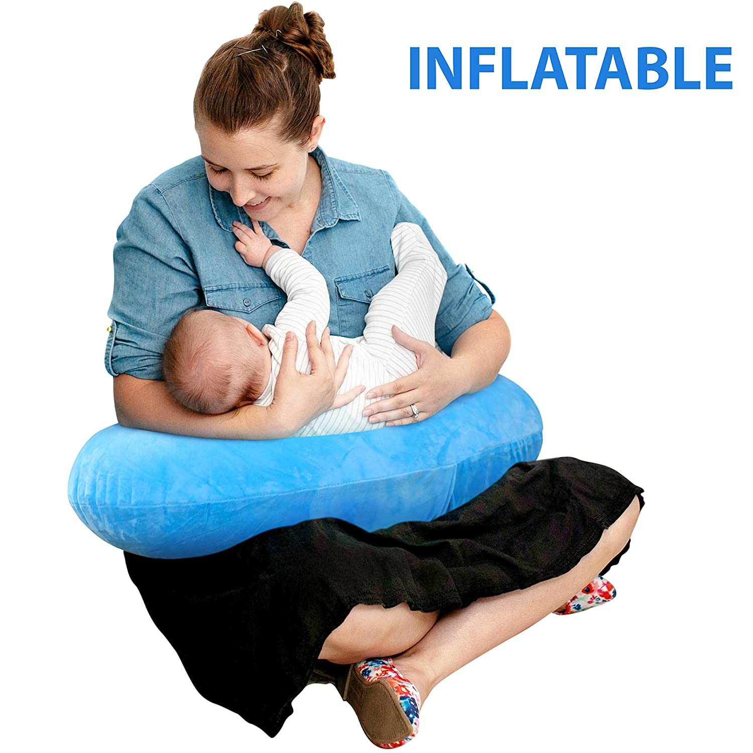 The Original Inflatable Nursing Pillow with Slipcover: Portable Breastfeeding Support Cushion with Removable Plush Minky Cover - Compact Breast Feeding Pillow for Traveling - No More Sore Muscles! Royexe 0793 Grey