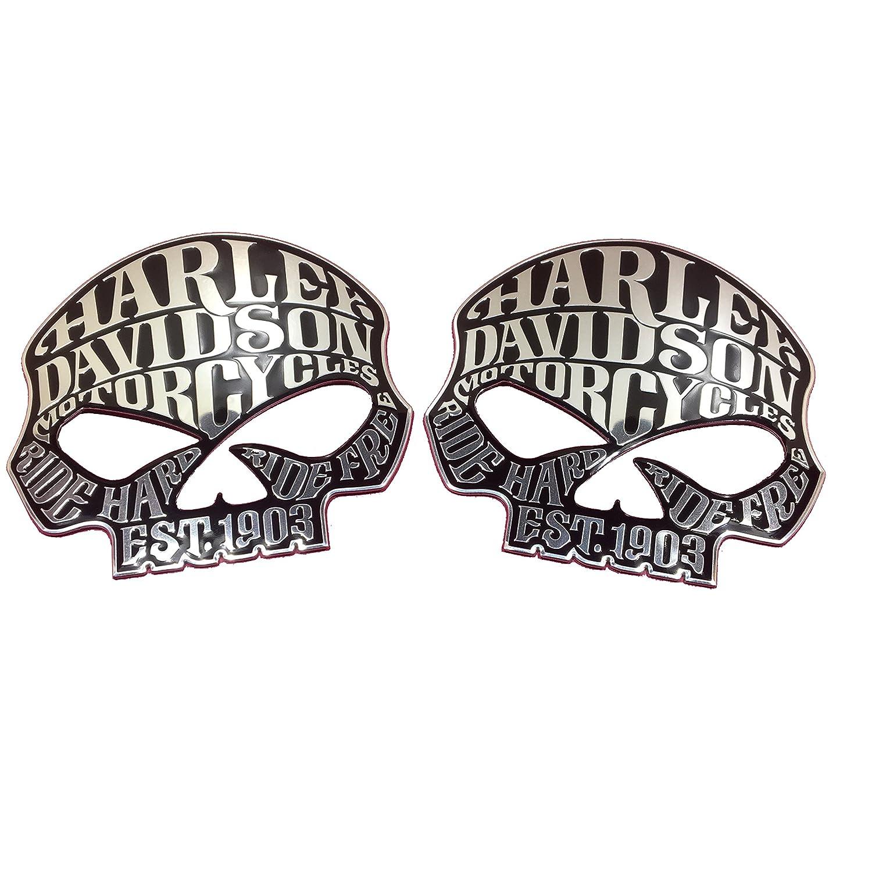 Two Flexible Metal Willie G Skulls 1903 Harley Davidson Motorcycle Emblem Stainless /& Black Badge Decal